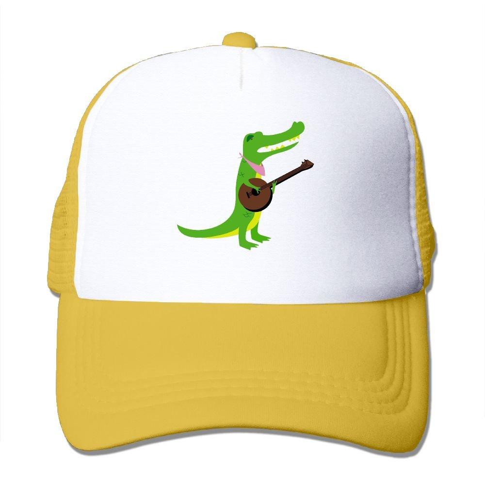 AKQQ0XXA Custom Fashion Unisex Alligator Music Trucker Cap Hat Yellow