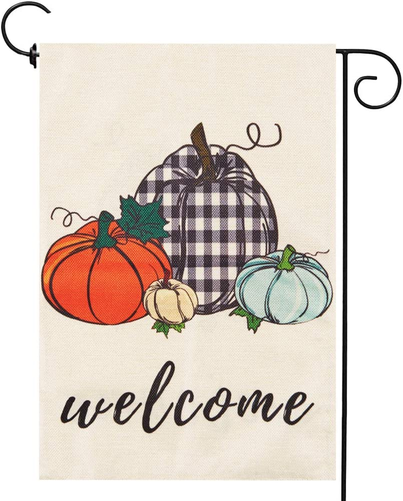 Pumpkin Fall Garden Flag Sign Autumn Thanksgiving Day Sign Small Double-Sided Linen Harvest Fall Outdoor Decoration 12.5 x 18 in
