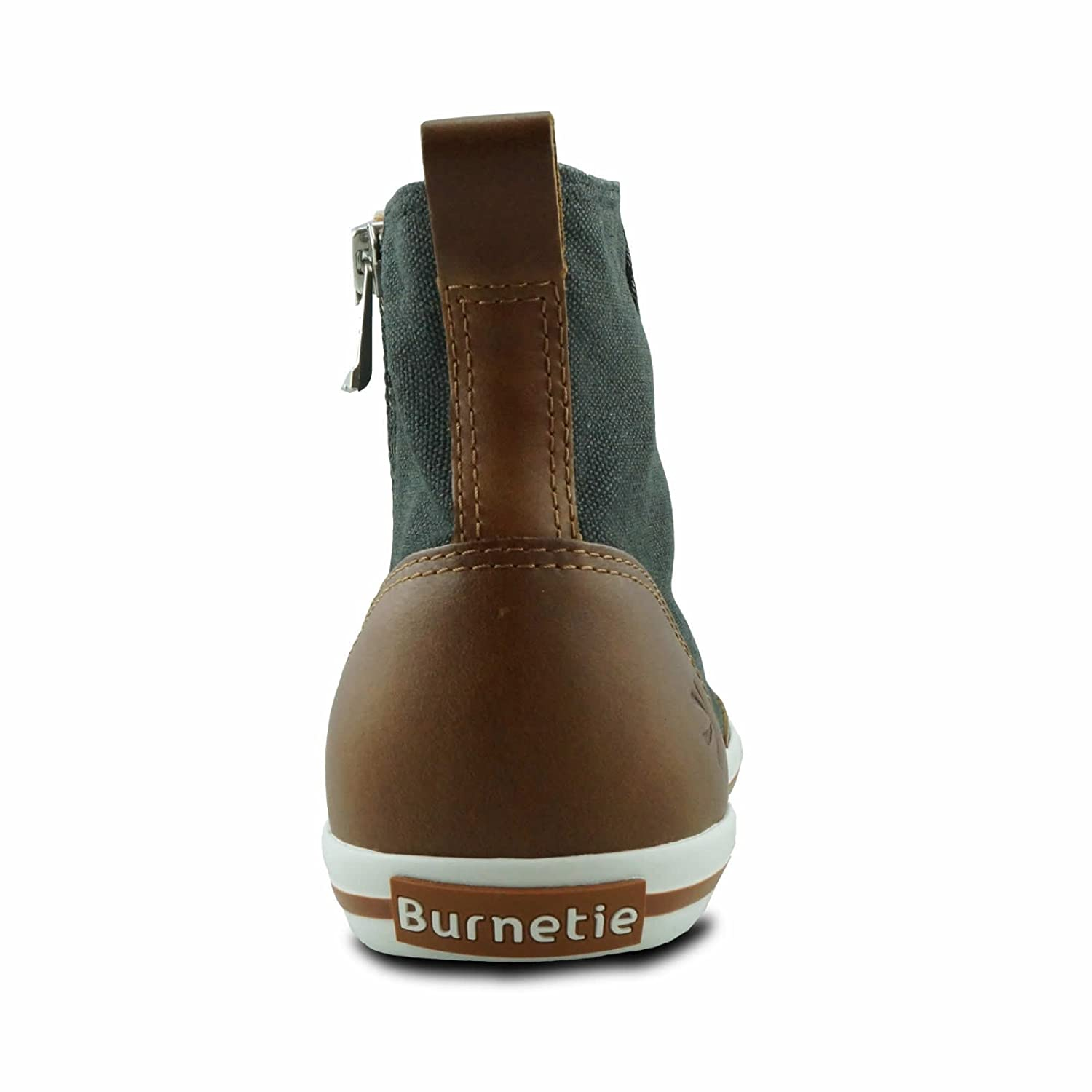 Burnetie Womens High Top Vintage Sneaker with Optional Side Zipper Closure
