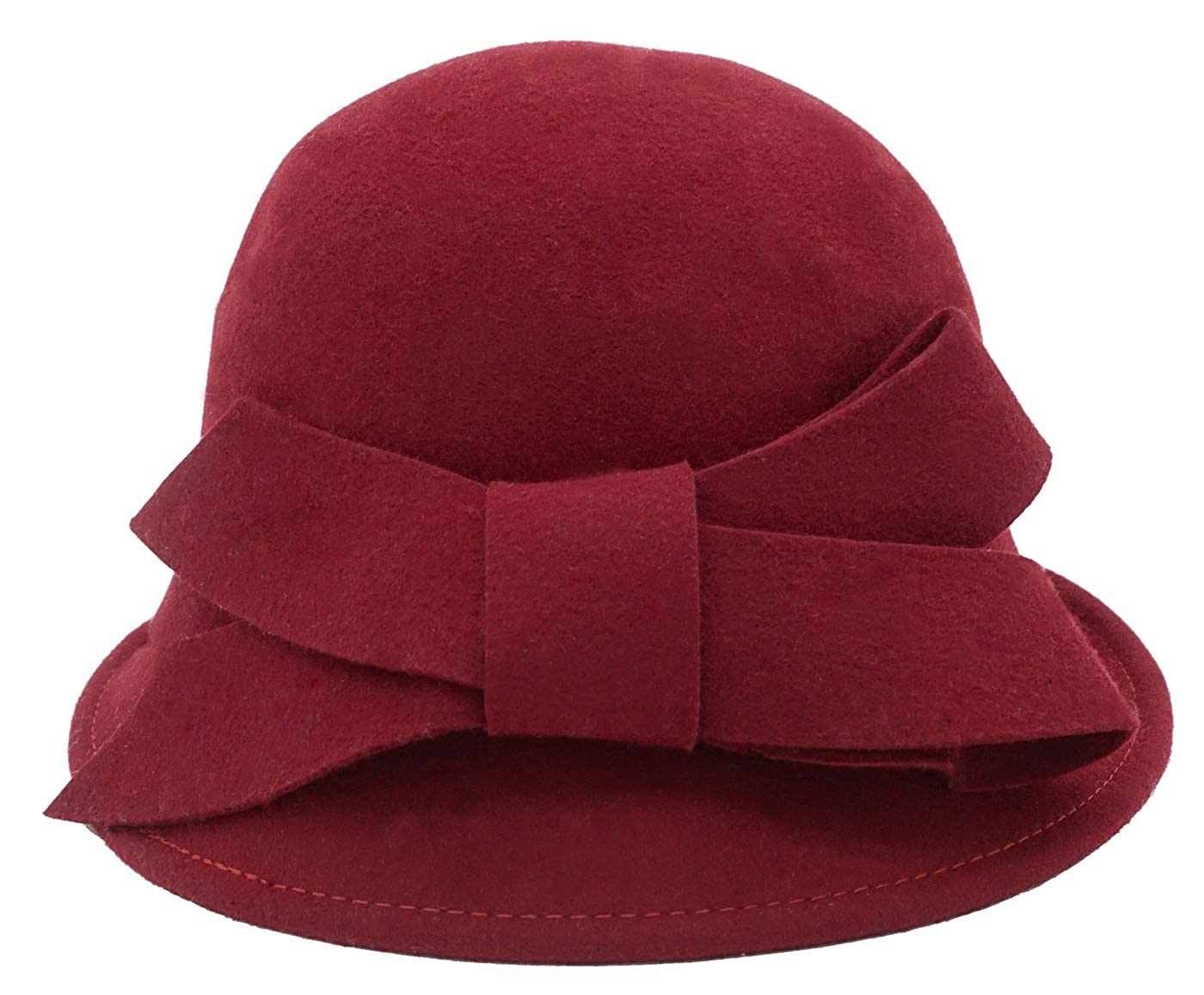 Women's Vintage Hats | Old Fashioned Hats | Retro Hats Bellady Women Solid Color Winter Hat 100% Wool Cloche Bucket with Bow Accent $20.99 AT vintagedancer.com