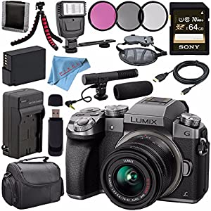 Panasonic Lumix DMC-G7 Mirrorless Camera with 14-42mm Lens (Silver) DMC-G7KS + 46mm 3 Piece Filter Kit + DMW-BLC12…