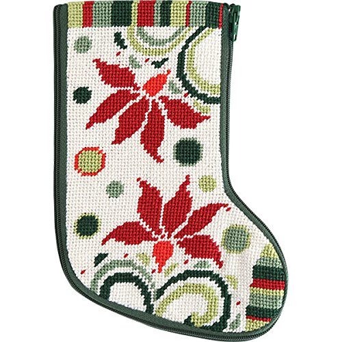 Stitch & Zip Modern Poinsettia Mini Stocking Needlepoint Kit