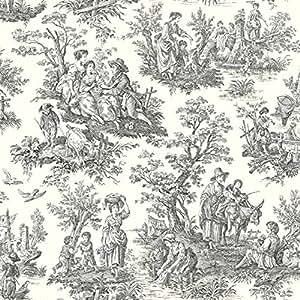 York Wallcoverings WA7828 Waverly Classics Country Life Wallpaper, White / Black