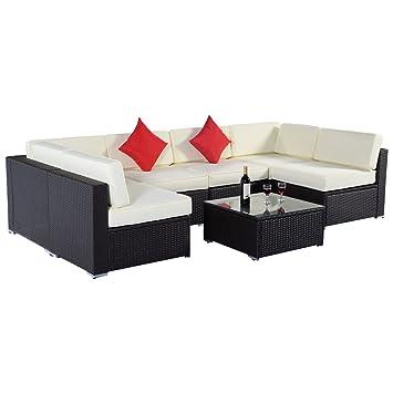 Costway 7pc Rattan Corner Sofa Set Garden Furniture Patio Sectional