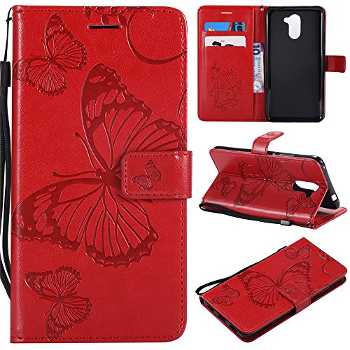 (Ascend XT2 Wallet Cases,IVY [3D Butterfly] Y7 PU Leather Cover Wallet Phone Case For Huawei Y7/Y7 Prime/Ascend XT2/Nova Lite+/Holly 4 Plus - Red)