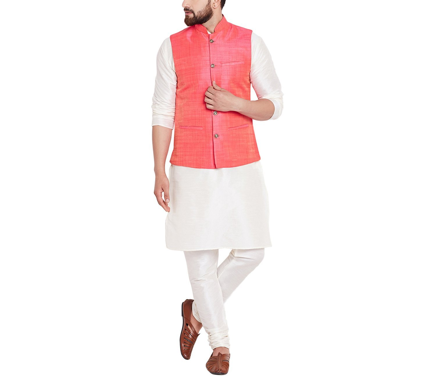Sojanya Since 1958 Men's Dupion Silk Designer Only Nehru Jacket