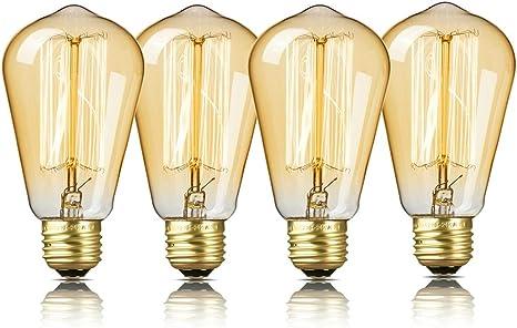 4 Packs Vintage Edison Bulbs 60W 110v Squirrel Cage Filament Antique Light Bulbs