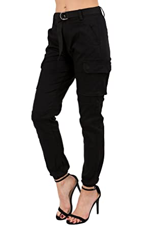d1e431f598 TwiinSisters Women's High Rise Slim Fit Color Jogger Pants with Matching  Belt - Size Small to