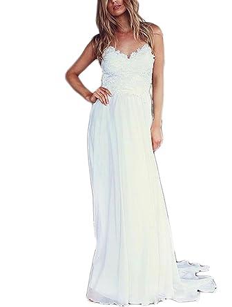 60f09c70a17 Veilace Women s Bohemian Wedding Dress Spaghetti Straps Lace Appliqued Chiffon  Beach Bridal Gowns .