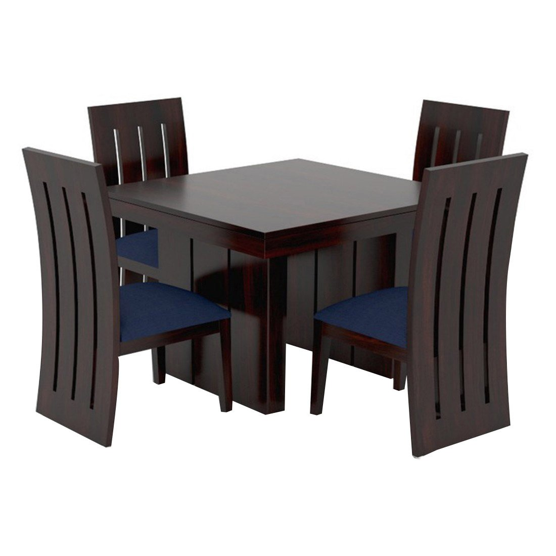 Funterior enormous teak wood 4 seater fabric dining table navy blue amazon in home kitchen