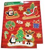 Christmas Reusable Glitter Window Clings ~ Forest Animal Celebration (10 Clings, 1 Sheet)