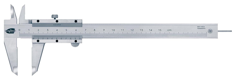 Standard Gage 00514022 Nonius-Messschieber aus Kohlenstoffstahl mit rundem Tiefenmessstab, 0 mm - 150 mm, 0.02 mm TESA