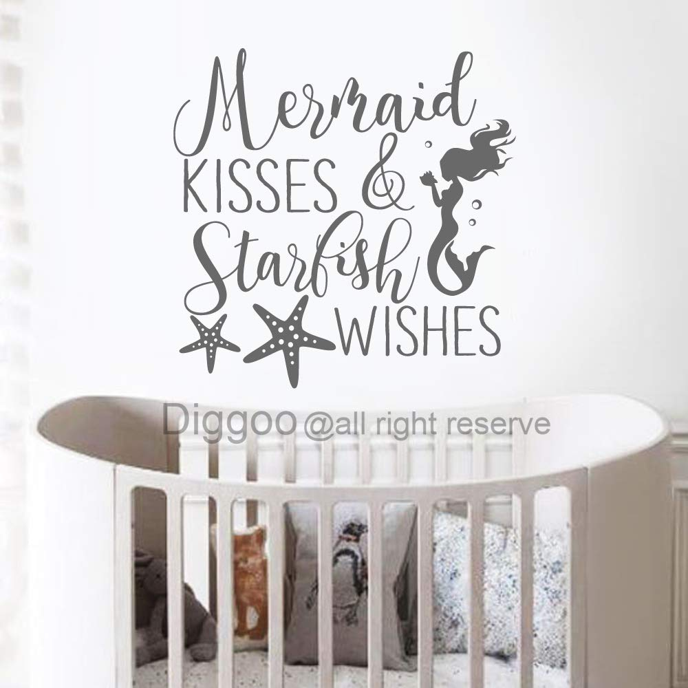 Mermaid Kisses and Starfish wishes girls bedroom wall art decal sticker
