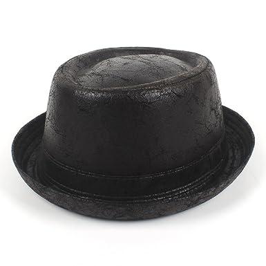 f293ef78596 Flat Top Hat Vintage Leather Pork Pie Fedora Hat Men Boater for Gentleman