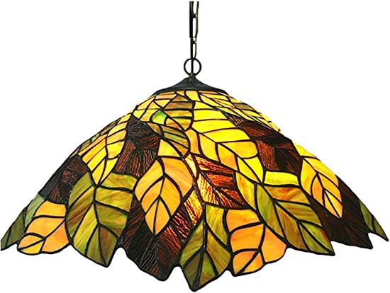 Kemeng Decorative Pendant Light, American Creative Romantic Handmade Stained Glass Pendant Lamps, 50 cm Tiffany-Style Art Chandeliers for Living Room Bedroom Kitchen