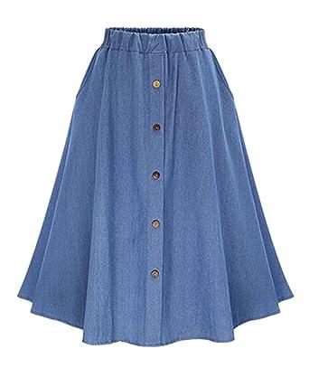 112f55bb2 Only Faith Women A-line Denim Skirt Long Jean Skirt Plus Size at ...