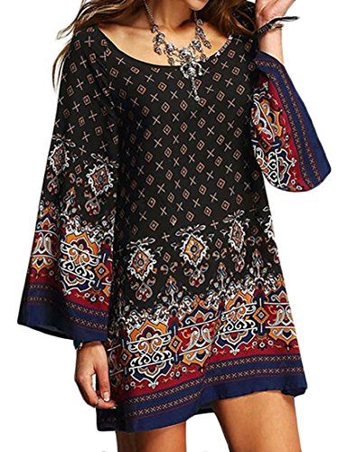 Cruiize Short Long Comfort Crew Neck Loose Black Dresses Sleeve Womens Print qrBHq6Ow