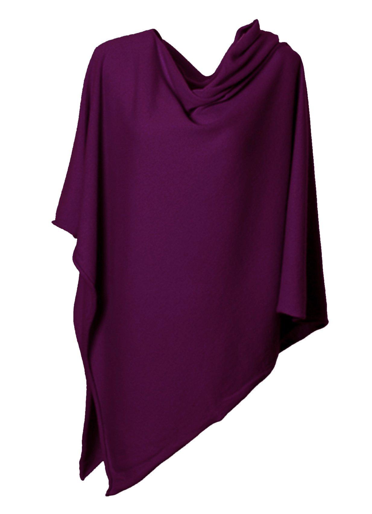 Anna Kristine Pure Cashmere Asymmetrical Draped Poncho - Amaranth