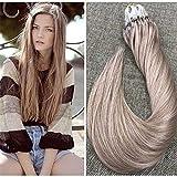 Ugeat 14″ 1g/s 50strands Micro Loop Hair Extensions Ash Blonde Color #18 Micro Rings Loop Human Hair Extensions Straight Micro Ring Hair Extensions For Sale