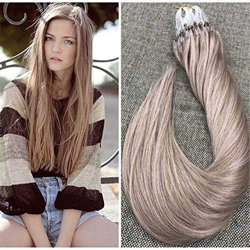 Ugeat 14″ 1g/s 50strands Micro Loop Hair Extensions Ash Blonde Color #18 Micro Rings Loop Human Hair Extensions Straight Micro Ring Hair Extensions For Sale