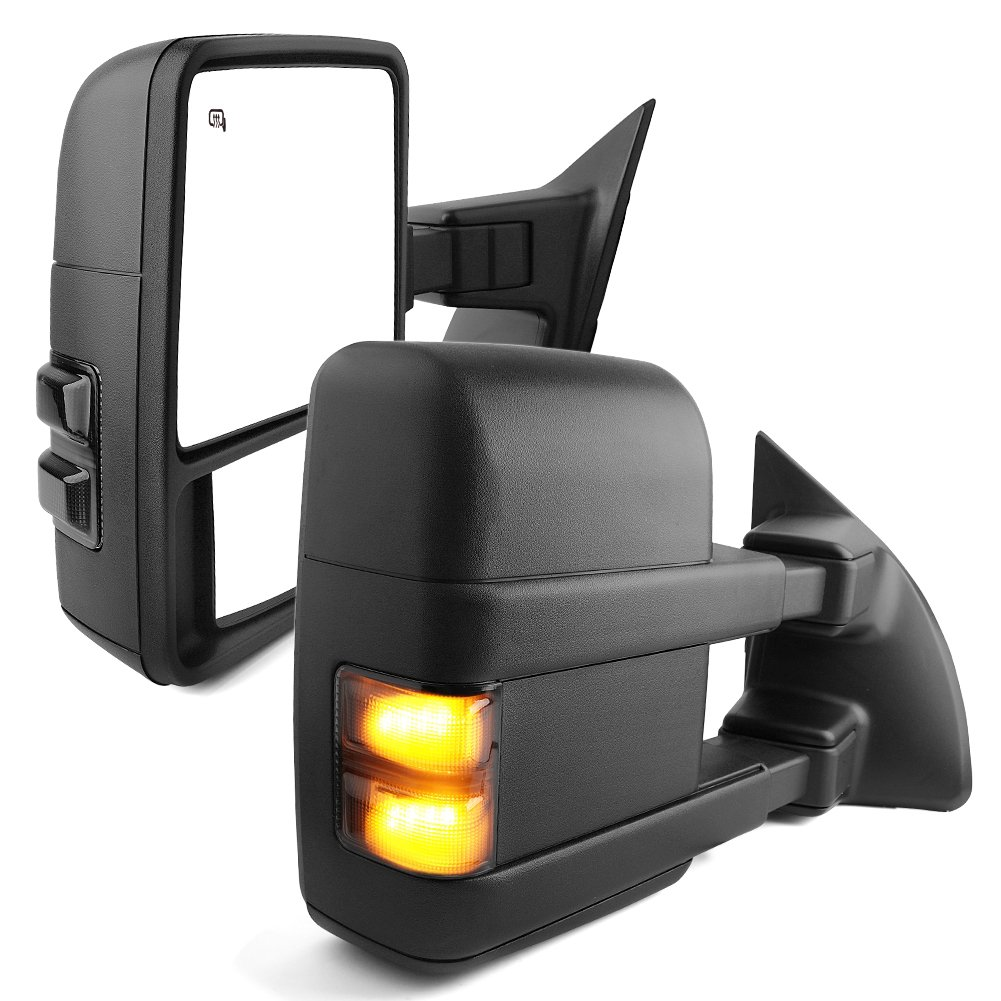 YITAMOTOR Towing Mirror Compatible for Ford F250,Power Heated with LED Signal and Side Marker Lights Tow Mirrors (Pair Set), for 2008-2016 Ford F250,F350, F450,F550 Super Duty Series Pickup by YITAMOTOR