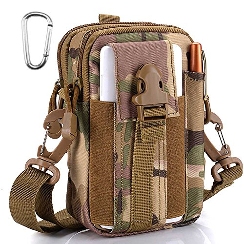 Tactical Molle Pouch Outdoor Sports Belt Waist Pack Bag Military Waist iPhone Gadget Money Pocket EDC Security Carry Case for Camping Hiking Mountaineering, Camouflage
