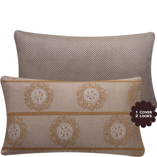 Chloe & Olive Bronzed Goddess Couture Collection Textured Sun Medallions and Tweed Lumbar Pillow Cover, 12 by 20-Inch, Brown