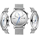 OLVES Men's Fashion Waterproof Quartz Watch with Date Window Luminous Analog Display Wristwatches Man Business Watches with Classic Milanese Mesh Strap and Free Small Watch Tools