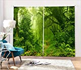 LB 2 Panels Room Darkening Thermal Insulated Blackout Window Curtains,Dense Forest 3D Window Drapes for Living Room Bedroom - 80 Inch Width by 84 Inch Length