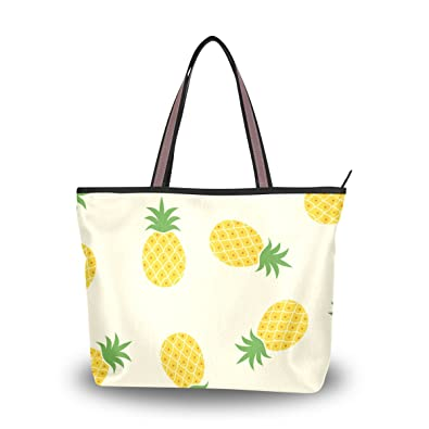 cc4bb77ea5 ALAZA Cute Abstract Summer Pineapple Large Tote Top Handle Shoulder Bags  Handbags for Women Ladies