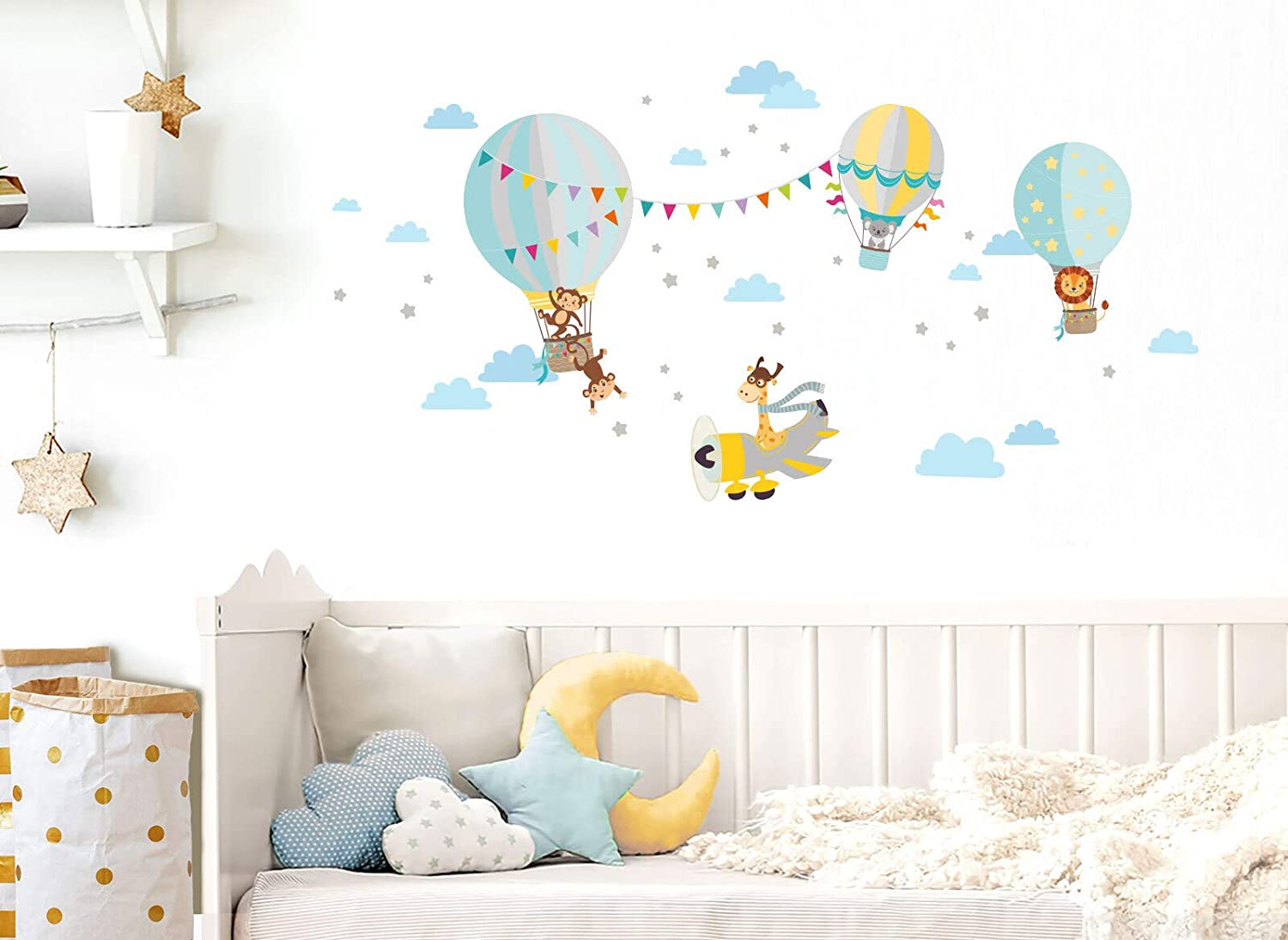 Wandaro Little Deco DL339 Sticker Mural Motif Animaux dans Le Ballon Chaud et Girafe dans lavion I Fille Gar/çons et Enfants
