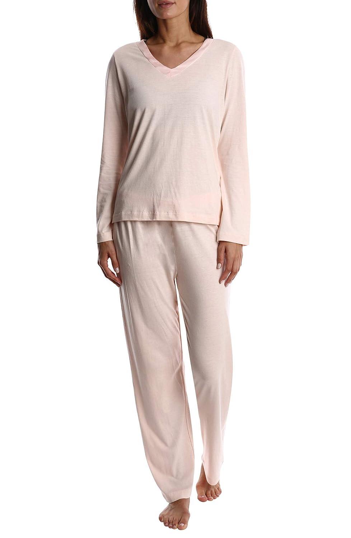 bluesh Nouveau Women's Luxury Soft Sleepwear Long Sleeve Basic VNeck Top and Full Pants Loungewear Sleep Set
