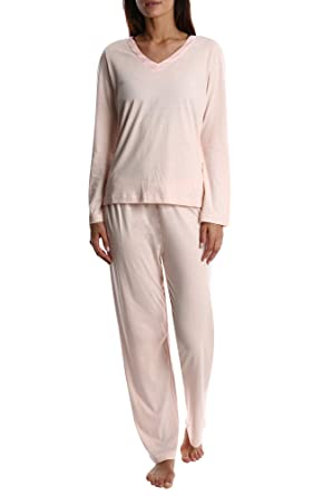 6a1dafea5d8 Nouveau Women s Luxury Soft Sleepwear Long Sleeve Basic V-Neck Top and Full Pants  Loungewear Sleep Set Plus 1X 2X 3X 4X 5X at Amazon Women s Clothing store