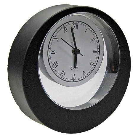 Reila Reloj de Sobremesa Excéntrico, Negro Brillante, 4x15x15 cm