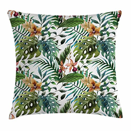 Ambesonne Leaf Throw Pillow Cushion Cover, Vintage Retro 60s Seem Banana Palm Tree Leaves Flowers Hibiscus, Decorative Square Accent Pillow Case, 40 X 40 Inches, Pale Caramel Burgundy and Green (Furniture Shop Tree Banana)