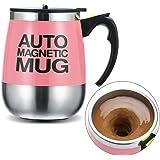 Ysinobear マグカップ 自動ミキサーカップ 電動シェーカー ステンレス製 マグネット 自動 撹拌 大容量 クリーン簡単 漏れ防止 (ピンク)