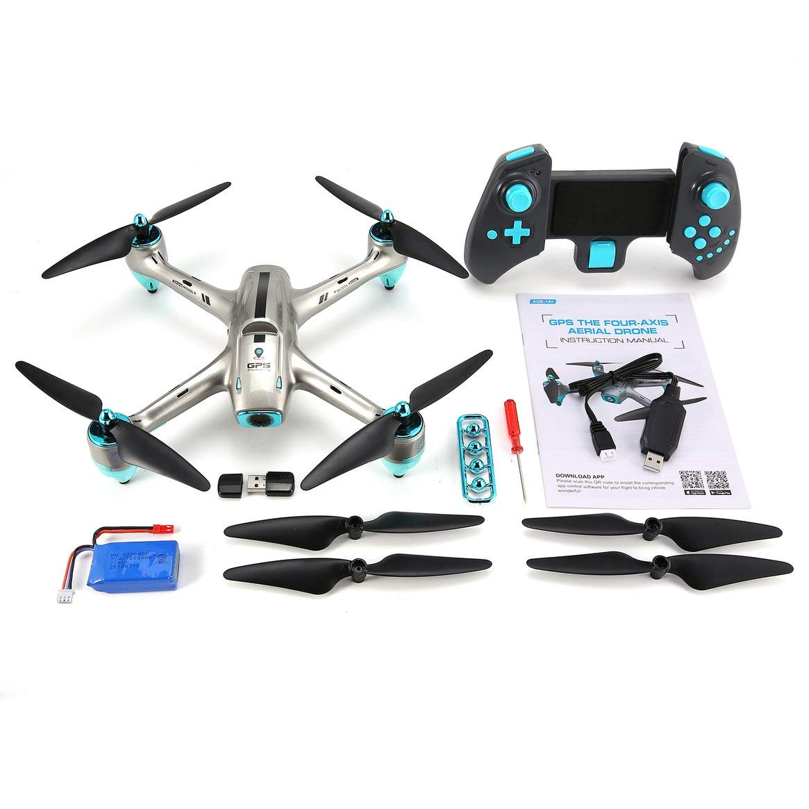 Delicacydex 6957G 2.4G GPS Positionierung 720 P HD Weitwinkel Kamera FPV RC Drone Quadcopter Echtzeit Follow Me One Key Return 360 ° Flips - Silber