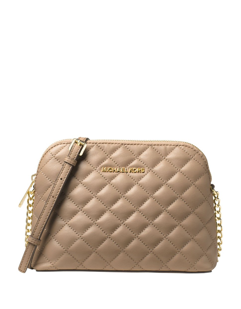MICHAEL MICHAEL KORS Cindy Quilted Leather Crossbody (Bisque)