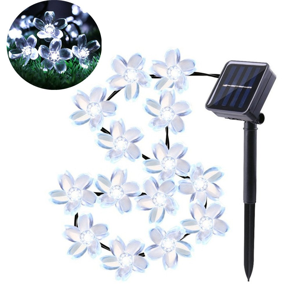 TechCode Solar Lights Outdoor, LED Peach Sakura Flower Waterproof String Lights Backyard Fairy Lighting Solar Powered Outdoor Lamps Perfect for Patio, Cafe, Garden, Festoon Party Decoration (White)