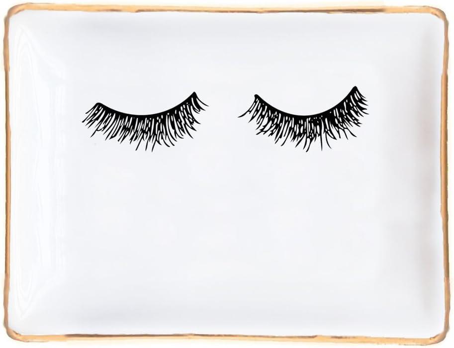 Eyelashes Ceramic Trinket Tray Ring Dish Jewelry Dish Lashes Decor Eyelash Makeup Mascara Rectangle Ring Storage Gold Office Decor Small Accessories