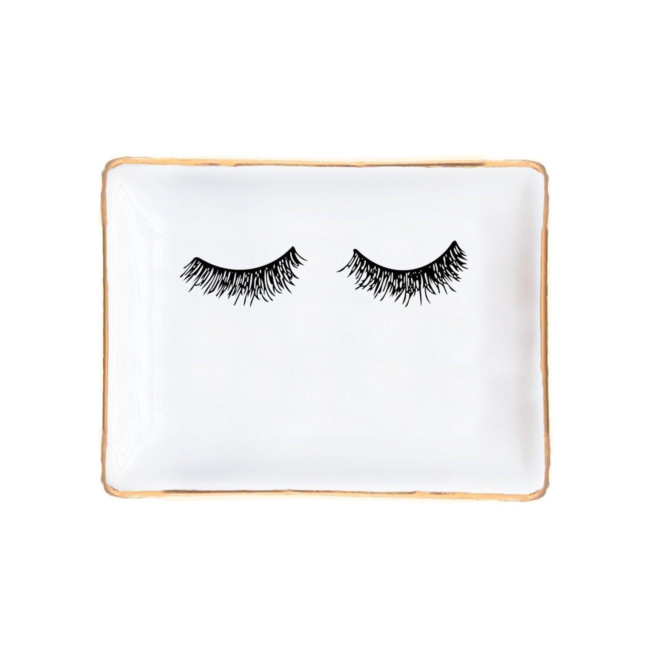 Eyelashes Jewelry Dish | Ring Storage Gold Ceramic Tray Small Decor Accessories