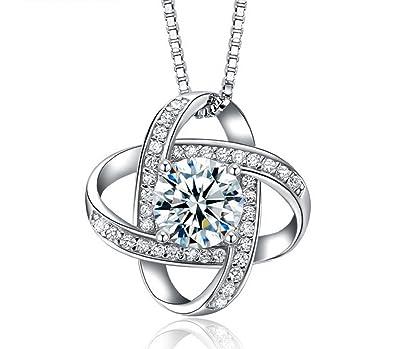 S925 Sterling Silber  quot Für immer Liebe quot  Frauen Zirkon Halskette  Anhänger Schmuck 45cm ( 0f2fe471d6