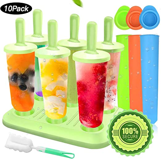 Set of 4, Green Ice Pop Molds Reusable Popsicle Molds Ice Pop Maker Set with Tray Ice-Cream Cone Shapes Holder BPA Free Home /& Kitchen Ice Cream DIY Mould