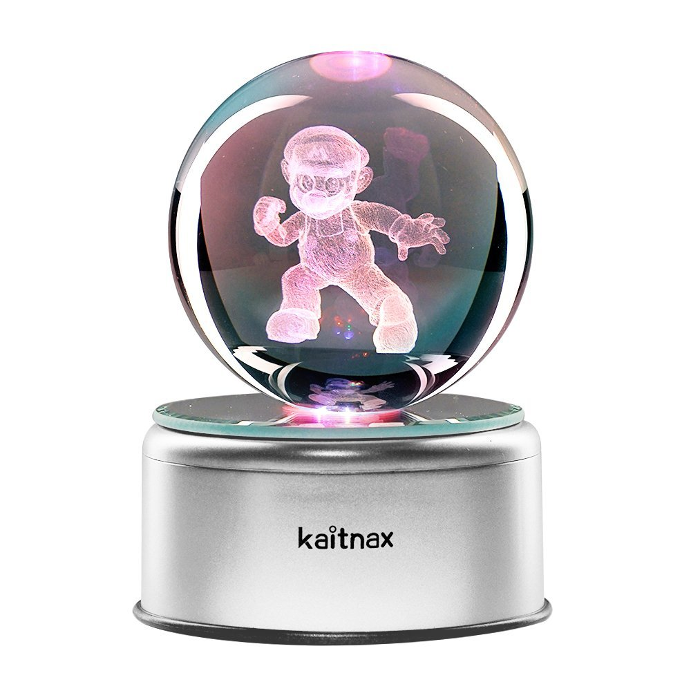 3D Cool Laser Etching Crystal Ball Night Light Gift Lamp for Kids Children Christmas (Mario)