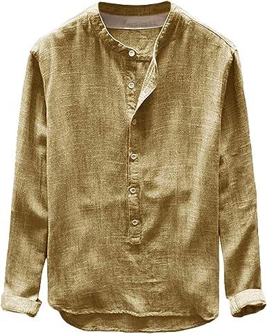 Hombre Camisa de Botones, Manga Corta Collar de Pie Camiseta Color Sólido Slim Fit Blusa Casual Camisa Básica Confortable Ligero Algodón Tops: Amazon.es: Ropa y accesorios