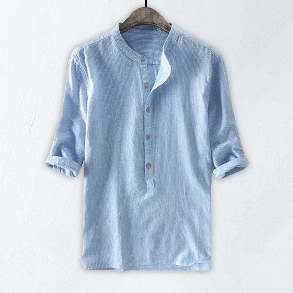 Button-Down-Shirts Uomo Taglie Forti M-4XL Modaworld Camicia in Lino a Maniche Corte Tinta Unita Slim Fit da Uomo