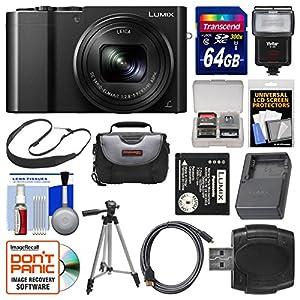 Panasonic Lumix DMC-ZS100 4K Wi-Fi Digital Camera (Black) with 64GB Card + Case + Flash + Battery & Charger + Tripod + Strap + Kit