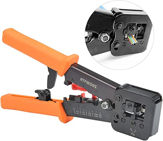 Professional Heavy Duty Crimping Tool Pass Through Crimper for RJ11//12//45