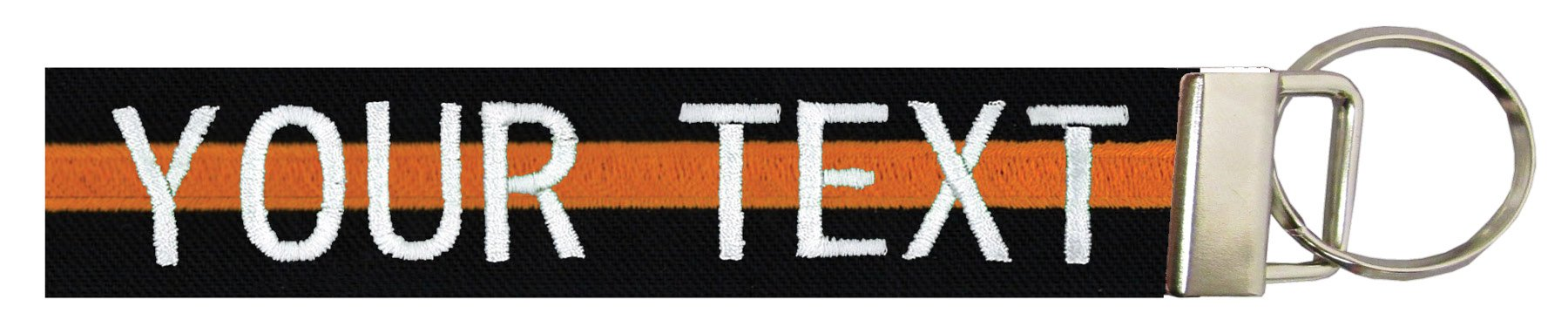 Northern Safari Custom Name Tape Material Luggage and Crate Tags Over 50 Fabrics! Made in The USA, Black Fabric/Orange Line, 6'' 2-LINE Text and Logo