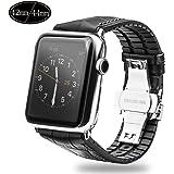 Xboun コンパチブル apple watch バンド,本革 ビジネス用 アップルウォッチバンド プッシュ式 Dバックル 手作り ゴム Apple Watch Series 4/3/2/1/Nike+ (42mm/44mm,黒)